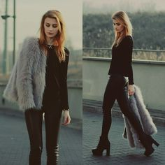 Katarzyna Konderak - Oasap Top, Sinsay Pants, Heels, Oasap Fur - Fur jacket.