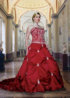 Style 8220 - Full Figured » Wedding Gowns » DaVinci Bridal » Available Colours : Burgundy/Silver, Ivory/Silver, Ivory/Ivory, White/Silver, White/White