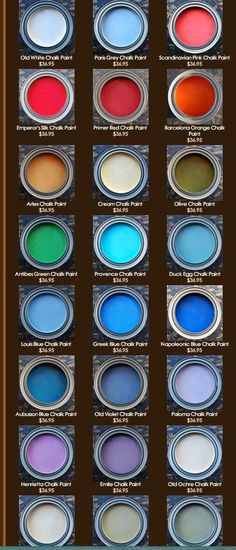 """Color samples, in cans, of Annie Sloan Chalk Paint. Colors are a little misleading. """"Paris Grey"""" looks blue here but I just painted a small dresser in Paris Grey and in the can AND on the dresser, the color is a true GREY. Also, """"Cream"""" is YELLOW. I painted legs of my dining room table with Cream and it was yellow."""