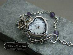 Unique Silver Watch, Fairytale Jewelry, Sterling Silver Watch, Wire Wrapped Bracelet, Antique Silver Jewellery, Original Artisan Jewellery by DesignedByAnnemarie on Etsy