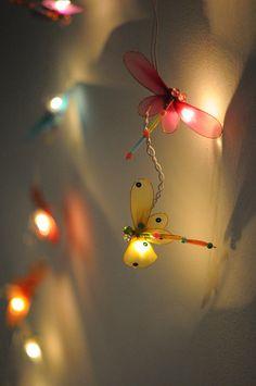 Items similar to 20 x Dragonfly bead handmade kid room toy display bedroom light lantern lamp family decoration light on Etsy Hanging Lantern Lights, Lantern Lamp, Outdoor Party Lighting, Lighting Ideas, Yard Lighting, Nylon Flowers, Fabric Flowers, Toy Display, Dragonfly Art