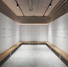 Gallery of Hardio Cycling Studio / balbek bureau - 25 Gym Design, Retail Design, Gym Interior, Interior Design, Locker Designs, Gym Lockers, Pilates Studio, Changing Room, Massage Room