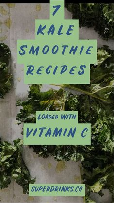 Kale is, hands down, one of the most nutrient-dense foods on the planet. It is low-calorie, low-fat and actually loaded with immune boosting vitamins, including Vitamin A and and Vitamin C. Here are 7 kale smoothie recipes that are loaded with Vitamin C. Energy Smoothie Recipes, Breakfast Smoothie Recipes, Healthy Smoothies, Healthy Drinks, Green Smoothies, Vitamins For Healthy Skin, Brain Healthy Foods, Health Drinks Recipes, Juicer Recipes