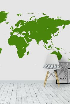 Detailed world map wall mural wall murals living rooms and walls green world map wall mural wallpaper gumiabroncs Gallery