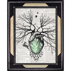 WOODLAND HEART Growing Human Heart as Tree (green forest) art print Original Mixed Media Artwork by EphemeraAndMore Art Studio. The image