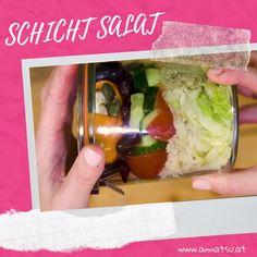 Du bist auf der Suche nach einem laut TCM gesunden Salat zum Mitnehmen? Dieses Mittagessen ist perfekt weil es wärmt und deine Mitte stärkt. #schichtsalat #salat #gesundessen #tcm Sushi, Party, Japanese, Chicken, Meat, Ethnic Recipes, Food, Anna, Salads To Go
