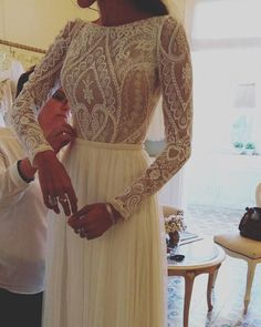 Boho chic dress with Vintage Lace Flora bridal 2016 www.flora-bride.com