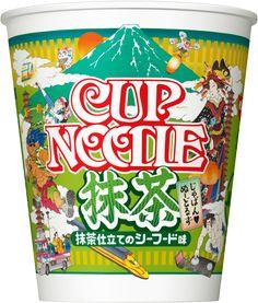 日本をテーマにした「じゃぱん♥ぬーどるず」トリオ。茶そばをイメージした緑色の麺に、シーフードをベースにしたクリーミーな濃厚感のあるスープに抹茶の風味を加わえた、まろやかな味わいが特徴です。