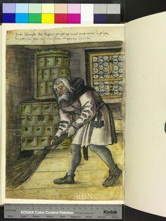 1519 house servant with broom, keys, fireplace  Die Hausbücher der Nürnberger Zwölfbrüderstiftungen