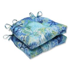 Pillow Perfect Windflower Sapphire Reversible Chair Pad, Set of 2 #PillowPerfect