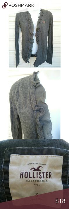 Ruffled grey Hollister open cardigan Gray Hollister open cardigan sweater with ruffled design. Small. Used but in very good condition.  #hollistercardigan #opencardigan #greycardigan #cardigansweater #fallfashion #fallsweater #sweaterweather Hollister Sweaters Cardigans
