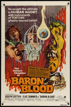 Baron Blood Joseph Cotten cult horror movie poster print 1972