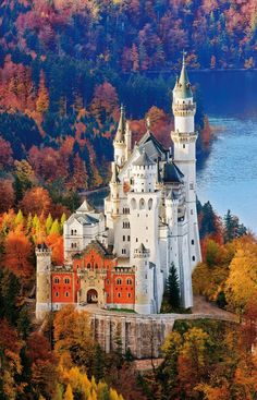 Neuschwanstein Castle located in Germany. This was the inspiration for the castle in Disney's Sleeping Beauty.