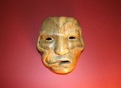 Cherokee healing mask made from ash by S.Tooni in North Carolina. This was the first mask in my collection & has special value because I have Cherokee ancestors.