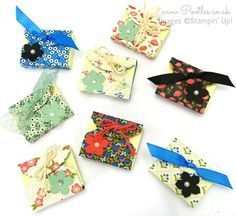 Ornate Tag Topper & Petite Petals punches, DSP, Ribbon, Pearls - Mini Post It Note Thank You Gifts
