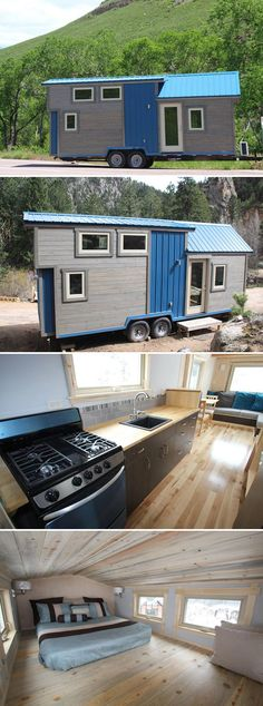 This blue and grey custom tiny house was built by SimBLISSity, a Colorado-based builder. The 25.5′ tiny house offers 260-square-feet of living space between the main floor and sleeping loft, and it features a beetle kill pine ceiling.