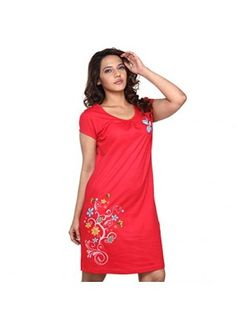 dd0c184033 wowemall.in apparel Women-Intimate-Apparel clifton-womens-long-top-nightwear -floral-red-xl