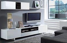 Habitdesign 0T6682BO - Mueble de comedor moderno, color Blanco Brillo y Negro Brillo, medidas: 200 cm x 41 cm de profundidad: Amazon.es: Hogar