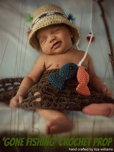 Gone Fishing Crochet Prop by BabyTurtles on Etsy An absolute must have photo prop! Creates a variety of adorable photos for you newborn or toddler! Bucket hat comes in sizes Infant: Crochet Baby Props, Crochet Photo Props, Crochet Bebe, Crochet For Boys, Crochet Hats, Crochet Baby Costumes, Boy Crochet, Newborn Pictures, Baby Pictures