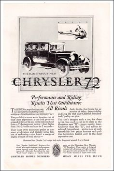 "1927 Chrysler 72 Auto Print Ad // Illustration of athelete clearing pole ""Agile // Classic Car Illustration"