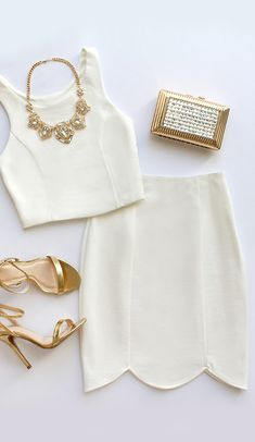 White crop top dress with gold heels and clutch. Holiday dress. Winter fashion