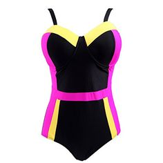 HDE Women's Retro One Piece Swimsuit Plus Size Padded Halter Vintage Swimsuit * Find out more about the great item at the image link.