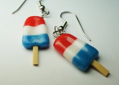 Red White and Blue Popsicle Earrings, Miniature Food Jewelry Surgical Steel Food Earrings. $12.00, via Etsy.