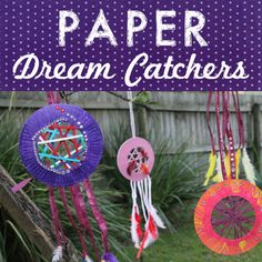 Colourful dream catchers made from paper