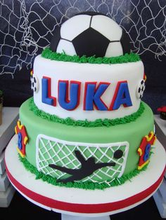 Awesome cake at a soccer birthday party! See more party planning ideas at CatchMyParty.com!