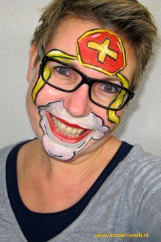 Schminke - Design für Sinterklaas - Famous Last Words Face Painting Designs, Body Painting, The Face, Saint Nicholas, Robin, Facepaint Kids, Halloween, Mardi Gras, Big Eyes