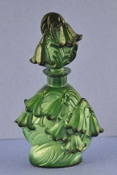 "Circa 1930's, Czech / Czechoslovakian, Malachite, Signed ""Ingrid"" Perfume/Scent Bottle with Bluebells"