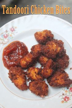 Spicy and crispy chicken dish which taste so yummy and is perfect as a appetizer. Crispy tandoori chicken bites turns out so juicy. Chicken Snacks, Chicken Bites, Crispy Chicken, Cheesy Chicken, Butter Chicken, Veg Recipes, Spicy Recipes, Indian Food Recipes, Chicken Byriani Recipe