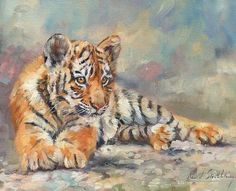 Tiger Cub Art Print by David Stribbling Cubs Wallpaper, Cubs Tattoo, Tiger Artwork, Leopard Cub, Thing 1, Realistic Drawings, Wildlife Art, Art Pages, Art Market