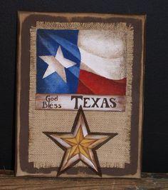 God Bless Texas Burlap Plaque