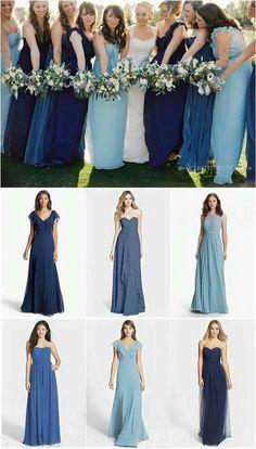 Vestidos de madrinhas - tons de azul