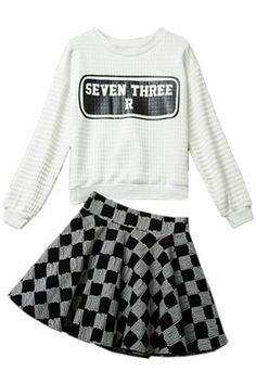 2pcs White Sweatshirt Plaid Skirt Matching Sets - OASAP.com