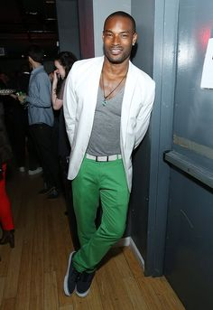 Tyson Beckford I think I'm in love with green jeans White blazer / sport jacket grey shirt
