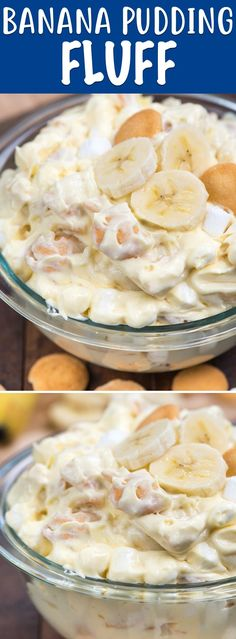 Banana Pudding Fluff is your favorite banana pudding recipe made into a dessert salad! Bananas, pudding, marshmallows, and vanilla wafers all mix in one big bowl of delicious dessert! via Easy Good Ideas # dessert Fluff Desserts, Mini Desserts, Brownie Desserts, Easy Desserts, Easy Delicious Desserts, Light Dessert Recipes, Jello Desserts, Awesome Desserts, Baking Desserts