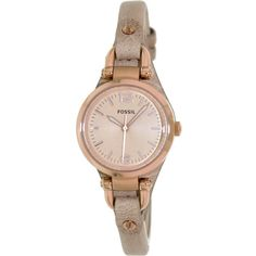 """Fossil Women's ES3262 """"Georgia"""" Mini Three Hand Sand Leather Watch ($101) ❤ liked on Polyvore featuring jewelry, watches, water resistant watches, dial watches, crown jewelry, fossil jewelry and leather strap watches"""