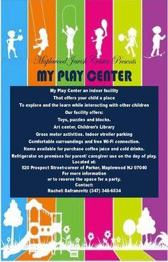 Indoor Play Center, maplewood jewish center, specific hours