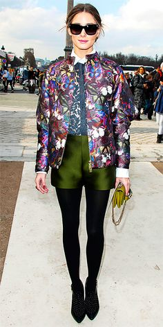 Olivia Palermo Butterfly-Print Jacket, Lace Top, Satin Shorts, and Rebecca Minkoff Booties