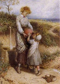 At the Spring ~ Myles Birket Foster ~ (English: 1825-1899)