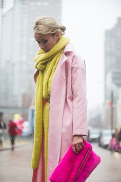 Go head-to-toe bright with a baby pink coat and neon accents. Photo credit: Melodie Jeng