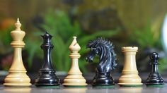 "The Ruffian American Series Staunton Chess Pieces in Ebony / Box Wood - 4.8"" King"