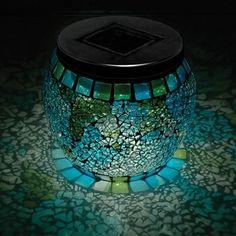 Solar Mosaic Jar Blue