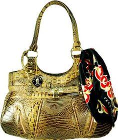 Vecceli Italy Alligator Embossed Brown Handbag Designed by Ronella Lucci AS-157ALLIBRN