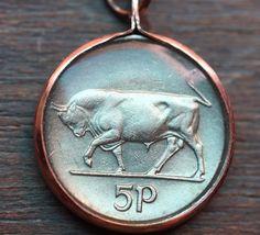 Irish 5 Pence Coin Pendant
