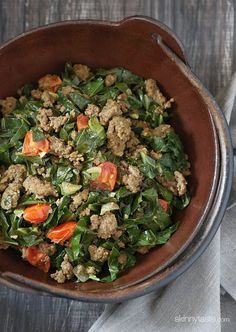 Kenyan Braised Collard Greens and Ground Beef (Sukuma Wiki) (Skinnytaste) Paleo Recipes, Low Carb Recipes, Cooking Recipes, Kenyan Recipes, Easy Recipes, African Recipes, Budget Recipes, Sweets Recipes, Turkey Recipes