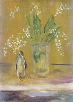 still life: penguin and lily of the valley