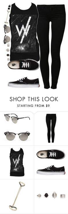 """""""Don't let me fall asleep alone."""" by rocketsheep ❤ liked on Polyvore featuring Ray-Ban, Noisy May, Retrò, Vans, Topshop, Simon Frank, vans, lyrics, sleepingwithsirens and sws"""